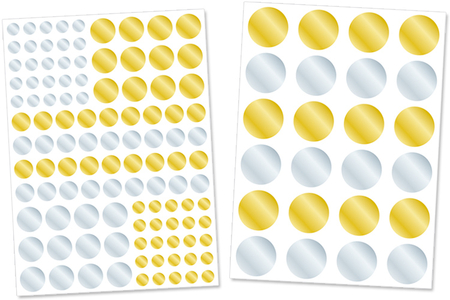 Gommettes rondes métallisées or et argent - Gommettes de fêtes – 10doigts.fr