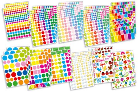 Maxi pack Gommettes assorties - 2509 formes autocollantes - Gommettes géométriques – 10doigts.fr