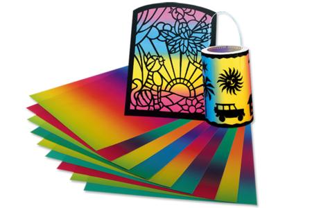 Set de 10 feuilles de papier translucide arc-en-ciel  - Papier divers – 10doigts.fr