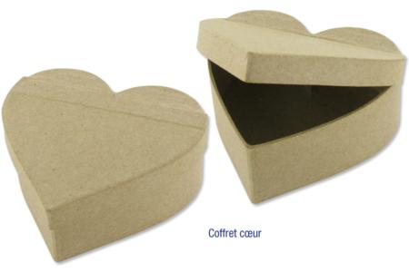 Coffret coeur en carton papier mâché 12 x 10 cm - Boîtes – 10doigts.fr