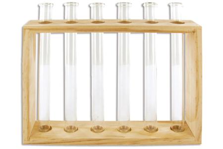 Soliflores en verre, avec support en bois - Divers – 10doigts.fr