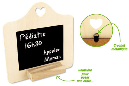 Cadre ardoise avec forme coeur et repose craie - Ardoises – 10doigts.fr