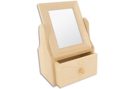 Coiffeuse en bois avec 1 tiroir - Miroirs en bois – 10doigts.fr