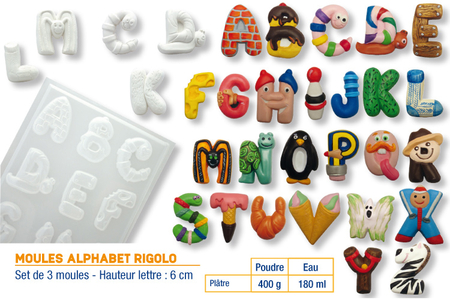 """Moules """"ALPHABET Rigolo"""" - 3 plaques assorties - Moules – 10doigts.fr"""