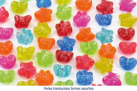 Set de 400 perles papillons, coeurs, étoiles ou fleurs en plastique, couleurs translucides assorties - Perles en plastique – 10doigts.fr