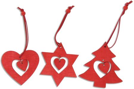 Coffret de 12 décors de Noël en bois teinté rouge, avec cordon et perle - Décoration du sapin – 10doigts.fr