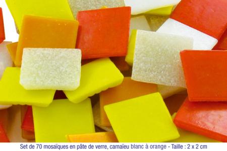 Mosaïques en pâte de verre, en camaïeu de couleurs jaune à rouge - Mosaïques pâte de verre – 10doigts.fr