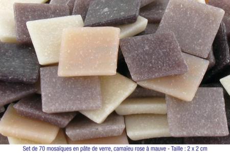 Mosaïques en pâte de verre, en camaïeu de couleurs rose à mauve - Mosaïques pâte de verre – 10doigts.fr