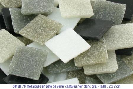 Mosaïques en pâte de verre, en camaïeu de couleurs blanc à gris - Mosaïques pâte de verre – 10doigts.fr