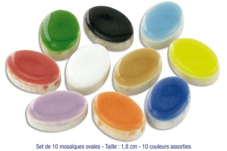 Mosaïques ovales en céramique émaillée, 10 couleurs vives assorties - Mosaïques céramique émaillée – 10doigts.fr