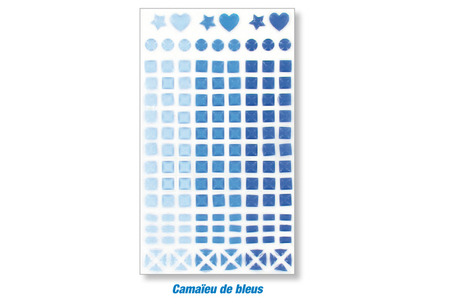 Stickers mosaïques, en camaieux de couleurs assorties - Stickers divers – 10doigts.fr