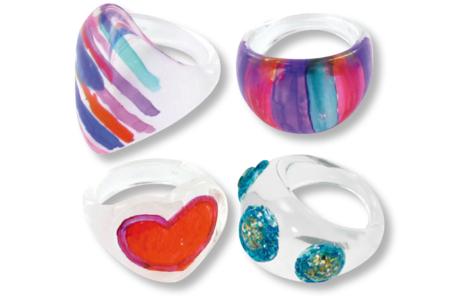 Bagues transparentes à décorer - 5 pcs - Bagues – 10doigts.fr