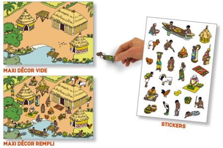 Stickers scène de vie Afrique - Gommettes stickers + maxi décor – 10doigts.fr