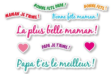 Gommettes Messages - 2 planches - Messages célébrations – 10doigts.fr