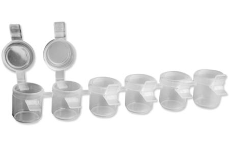 Barrette de 6 pots pour peinture, livrés vides - Palettes et rangements – 10doigts.fr