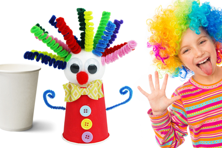 Fabriquer un clown rigolo avec un gobelet en carton - Carnaval, fêtes, masques – 10doigts.fr