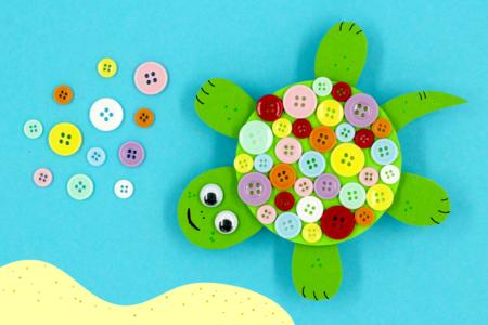 Tortue avec des boutons - Activités enfantines – 10doigts.fr