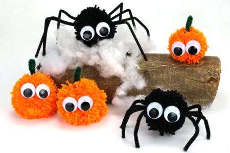 Activité Manuelle Halloween Pompons Araignées Citrouilles - Tête à Modeler