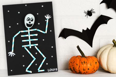 Squelette avec des pailles en carton - Halloween – 10doigts.fr