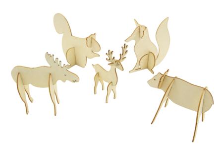 Animaux de la forêt en bois à monter - Set de 5 - Animaux 3D – 10doigts.fr