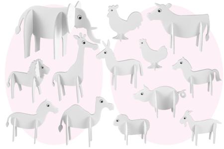 Animaux 3D en carton mousse à décorer - Set de 12 - Maquettes en papier – 10doigts.fr