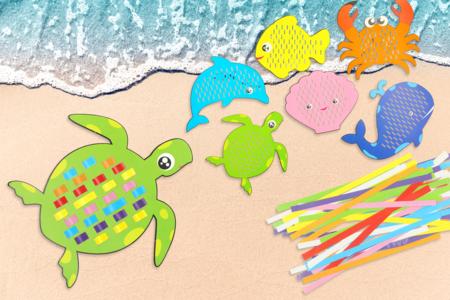 Cartes à tisser animaux marins- Set de 6 - Kits activités d'apprentissage – 10doigts.fr