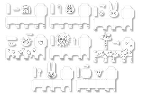 "Animaux ""Paper Toys"" à colorier  - Set de 8 - Support pré-dessiné – 10doigts.fr"