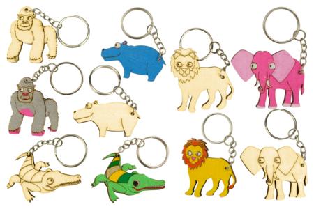 Porte-clefs en bois animaux Savane - 5 animaux  - Porte-clefs en bois – 10doigts.fr