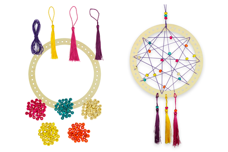 Attrape-rêves avec perles et pompons - Lot de 6 - Attrape-Rêves – 10doigts.fr