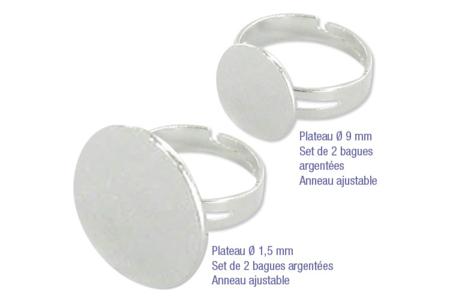 Bagues réglables plateaux 9 ou 15 mm - Bagues – 10doigts.fr
