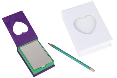 Boîte à notes en carton blanc avec fenêtre Coeur - Carnets – 10doigts.fr