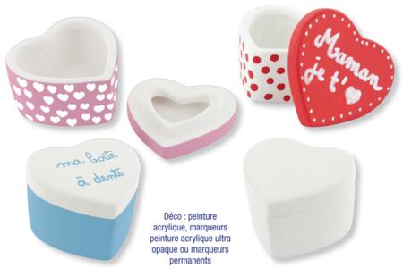 Boite coeur en terre cuite blanche - Boîtes, coffrets, plateaux – 10doigts.fr