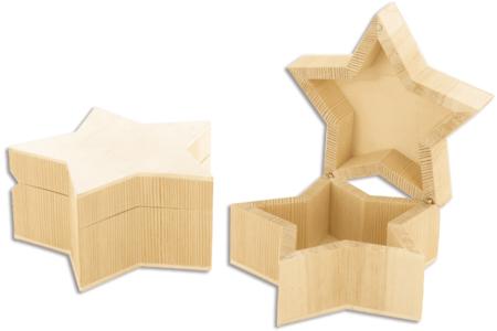Boite étoile en bois, avec fermeture aimantée - Boîtes, coffrets, plateaux – 10doigts.fr