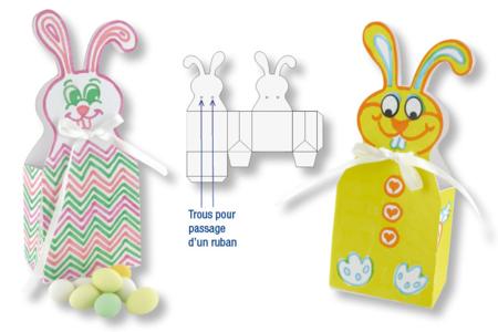 Boîtes lapins de Pâques en carte blanche à colorier + 4 rubans satin blanc - Activités enfantines – 10doigts.fr