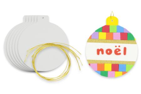 Boule de Noël en carton blanc - Décoration du sapin – 10doigts.fr