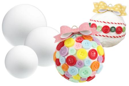 Collage de boutons sur boules en polystyrène - Noël – 10doigts.fr