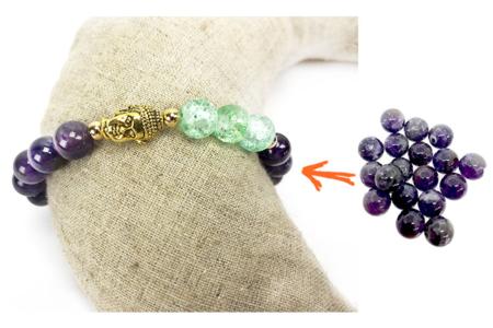 Perles Améthyste - set de 48 - Lithothérapie / Bracelets chakras – 10doigts.fr