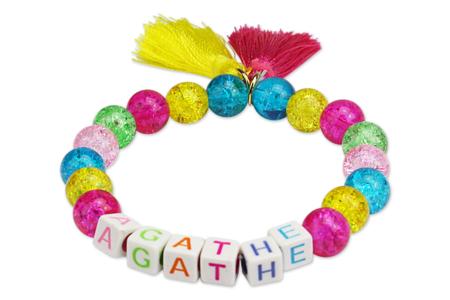 Bracelet prénom aux couleurs acidulées - Activités enfantines – 10doigts.fr