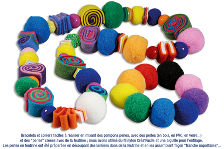 Bracelets ou colliers avec des pompons perles - Bijoux – 10doigts.fr