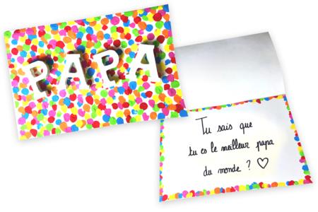 Bricolage carte confettis Papa - Tête à Modeler