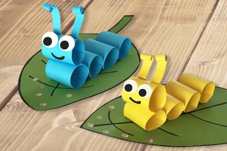 Chenilles en papier - Activités enfantines – 10doigts.fr
