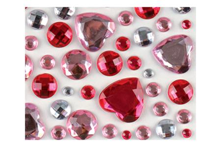 Strass rond et coeur rose - Set de 106 strass - Strass autocollant, cabochons autocollant – 10doigts.fr