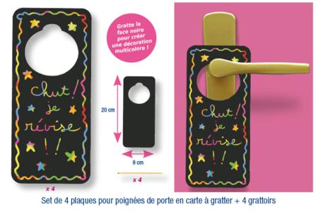 Set de 4 plaques en carte à gratter pour poignées de porte  + 4 grattoirs - Cartes à gratter – 10doigts.fr