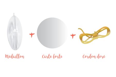 Médaillon plat 3 en 1 à suspendre - Plastique Transparent – 10doigts.fr