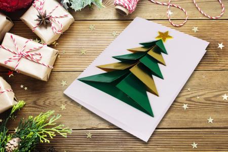 Carte sapin origami 3D - Noël – 10doigts.fr