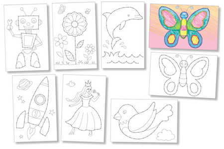 Cartes à broder et à colorier - 7 cartes assorties - Supports à broder – 10doigts.fr