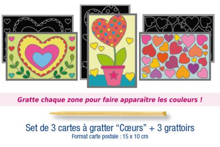 """Cartes à gratter """"Coeurs"""" + grattoirs - 3 pièces - Cartes à gratter – 10doigts.fr"""