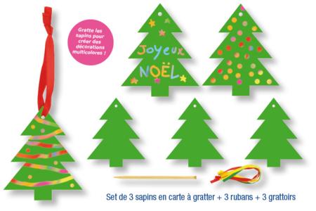 Cartes à gratter sapin de Noël + accessoires - 3 formes - Cartes à gratter – 10doigts.fr