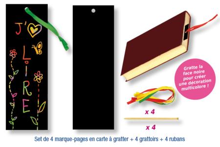 Set de 4 marque-pages en carte à gratter + 4 grattoirs + 4 rubans satin - Activités enfantines – 10doigts.fr