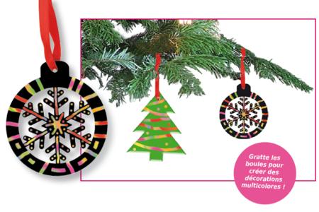 Set de 6 boules de Noël en carte à gratter + 6 grattoirs + 6 rubans satin - Cartes à gratter, cartes à sabler – 10doigts.fr